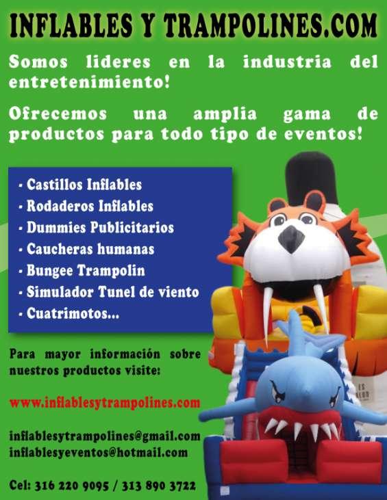 Inflablesytrampolines.com  castillos inflables, rodaderos inflables, dummies publicitarios, caucheras humanas, bungee, tunel de viento, cuatrimotos