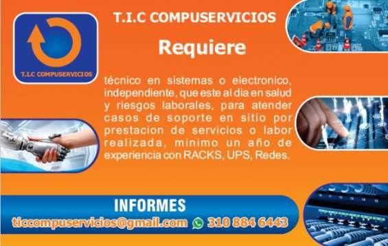 Se requiere técnico en sistemas o electrónico independiente