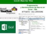 Programación Macros Excel,  creación y mantenimiento de macros excel visual basic para
